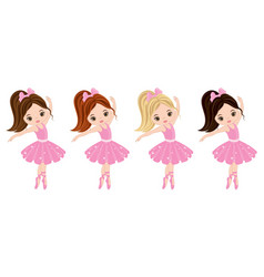 cute little ballerinas vector image vector image