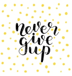 Never give up Brush lettering vector image