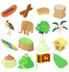 Sri lanka icons set cartoon style vector image vector image