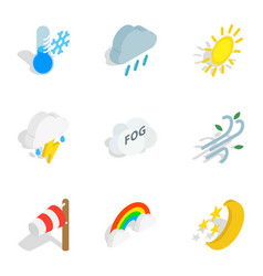 Weather forecast icons isometric 3d style vector