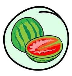 Fresh Green Watermelons on Round Green Background vector image vector image