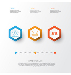 network icons set collection of edit group call vector image vector image