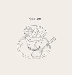 picolo latte hot coffee sketch vector image