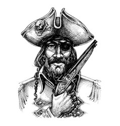 pirate portrait drawing vector image vector image