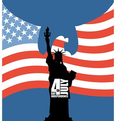 Statue of Liberty on background of American flag vector image