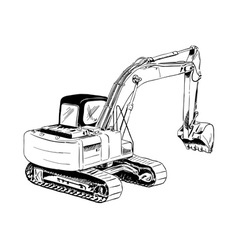 black sketch of big excavator vector image vector image