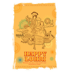 happy lohri holiday background for punjabi vector image vector image