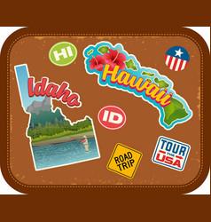 idaho and hawaii travel stickers vector image vector image