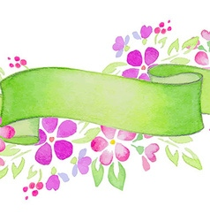 Ribbons with pink flowers and leaves vector image