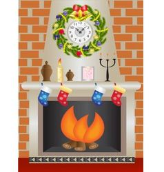 White Christmas fireplace vector image
