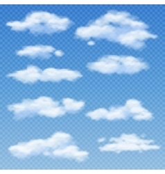 White clouds isolated on transparent blue vector image