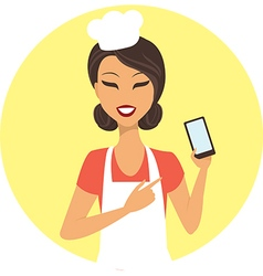 Young girl chef with mobile device vector image
