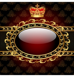 background with a gold crown and a circle of glass vector image