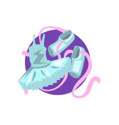 ballet icon ballet shoes and tutu cartoon vector image