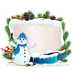 Funny Snowman and Christmas wreath vector image vector image