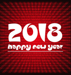 happy new year 2018 on red stripped binary code vector image