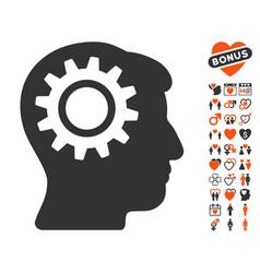 intellect gear icon with love bonus vector image