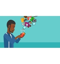 Man making purchases online vector image vector image