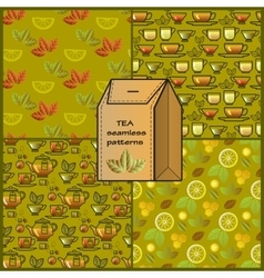 Seamless patterns set with tea cup pot lemon and vector