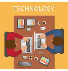 Workplace office desk IT technology and web design vector image