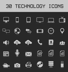30 Light technology icons vector image