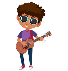 a young man playing guitar vector image