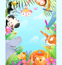 african animals zoo in jungle kids fun party vector image