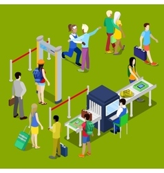 Airport Security and Isometric People with Baggage vector