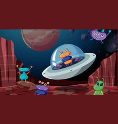 Alien in space scene vector