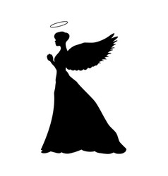 Angel silhouette christmas religious christian vector