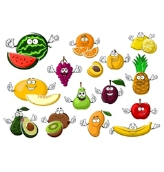 Appetizing ripe tropical and garden fruits vector