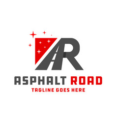 asphalt road construction logo with letters ar vector image