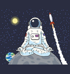 Astronaut sitting meditating on a planet or moon vector