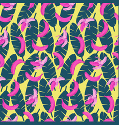 Bananas and leaves seamless pattern vector