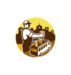 Bartender Beer City Van Circle Retro vector