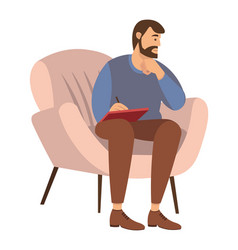 Bearded man is sitting on a chair and writing in vector