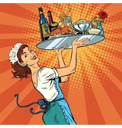 Beautiful young woman waitress in a restaurant vector image