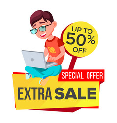 Big sale banner school children pupil vector