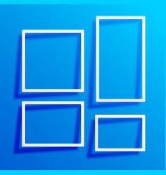Blue background with white border frames vector