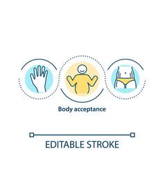 Body acceptance concept icon vector
