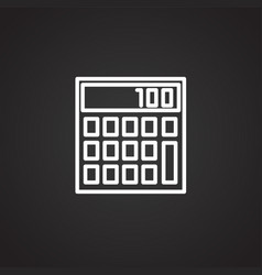 business calculator thin line on black background vector image