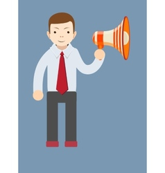 Businessman talking into a megaphone vector