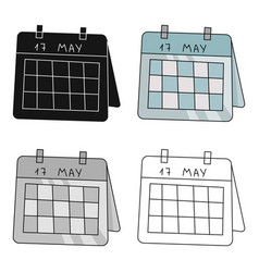 Calendar icon in cartoon style isolated on white vector