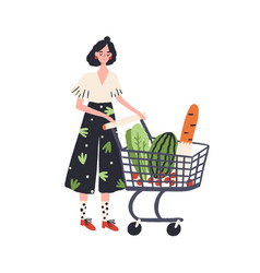 Cartoon female with shopping cart full products vector