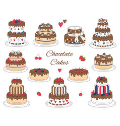 chocolate cakes set hand drawn colorful vector image