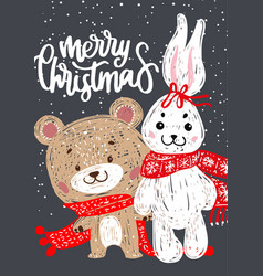 christmas poster with bunny and bear vector image