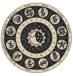Circle of zodiac signs in an antique style vector