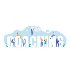 Coaching capital letters motivation flat poster vector
