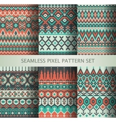 Collection of pixel colorful seamless patterns vector