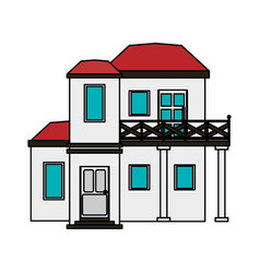 Colorful image cartoon facade modern house style vector